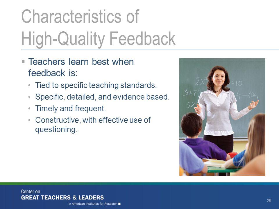 Characteristics of High-Quality Feedback