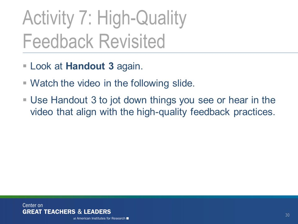 Activity 7: High-Quality Feedback Revisited