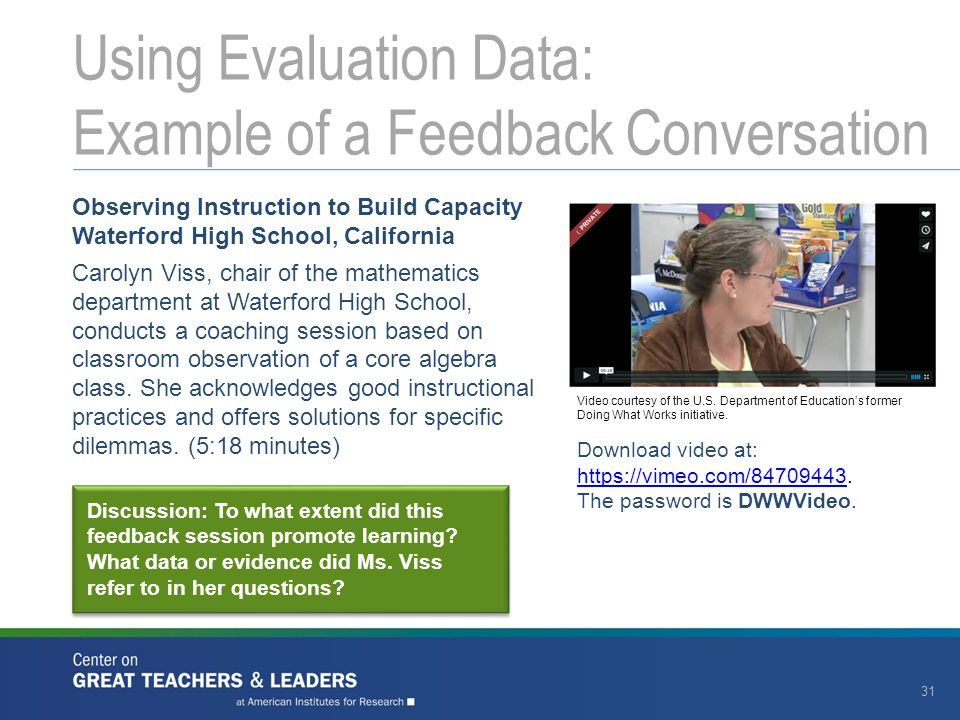 Using Evaluation Data: Example of a Feedback Conversation