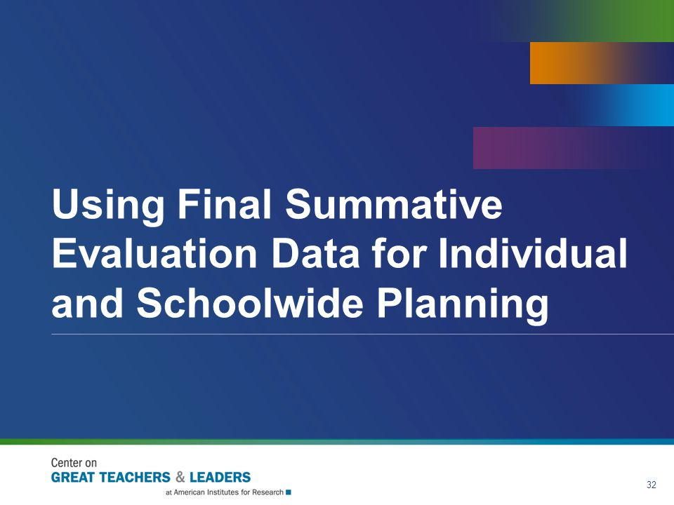 Using Final Summative Evaluation Data for Individual and Schoolwide Planning