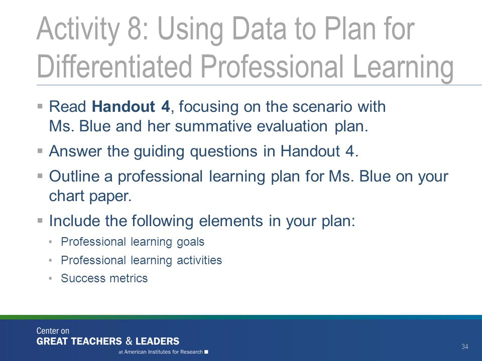 Activity 8: Using Data to Plan for Differentiated Professional Learning