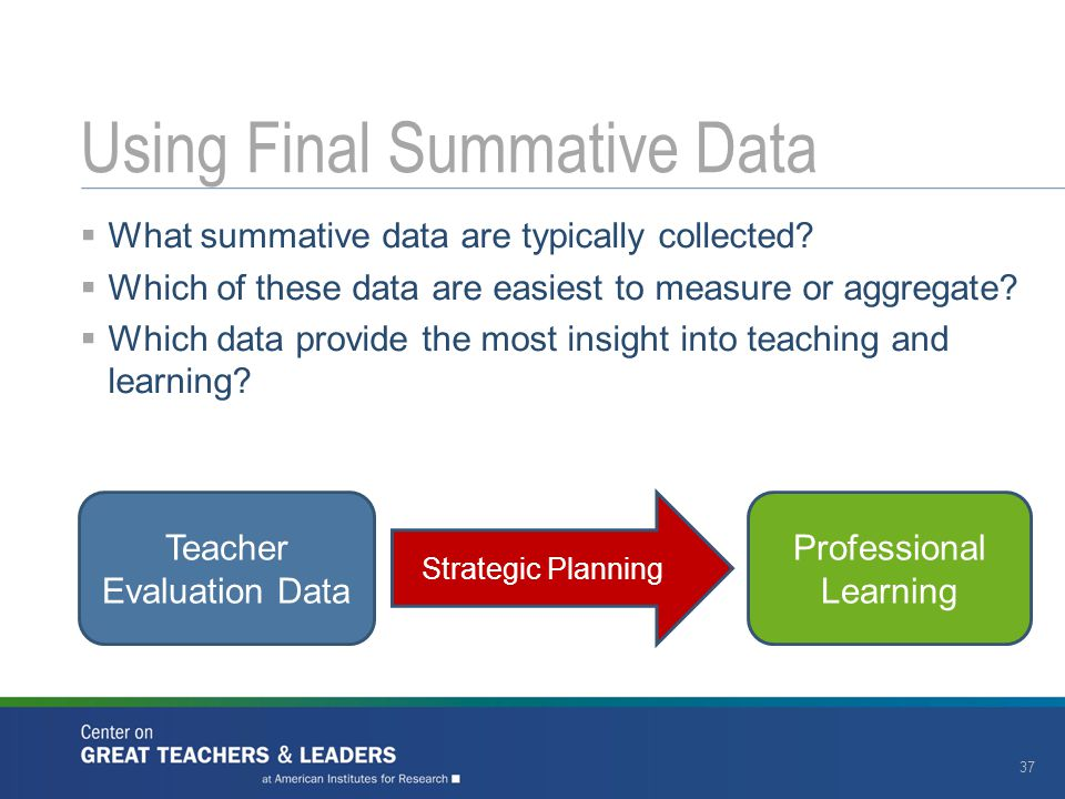 Using Final Summative Data