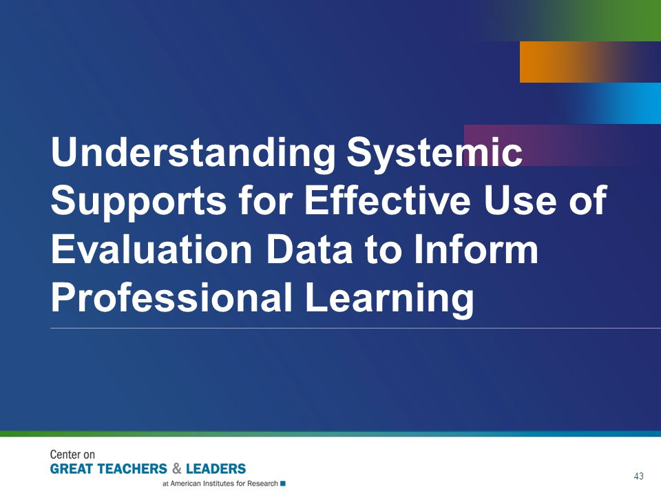 Understanding Systemic Supports for Effective Use of Evaluation Data to Inform Professional Learning