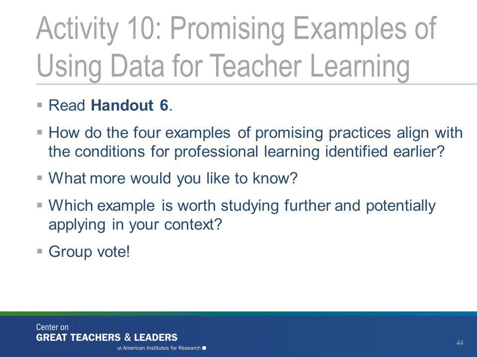 Activity 10: Promising Examples of Using Data for Teacher Learning