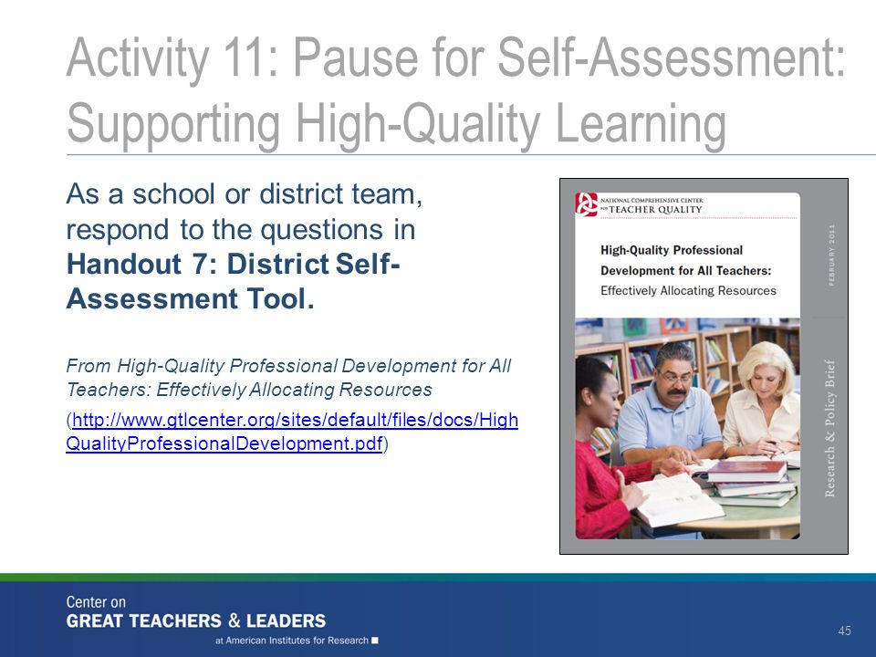 Activity 11: Pause for Self-Assessment: Supporting High-Quality Learning