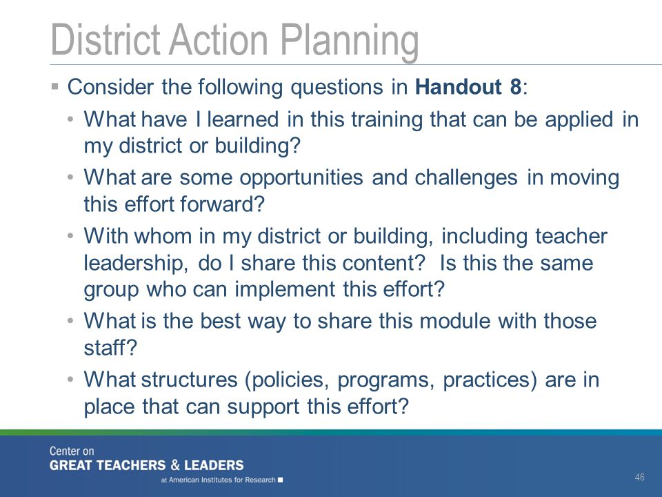 District Action Planning