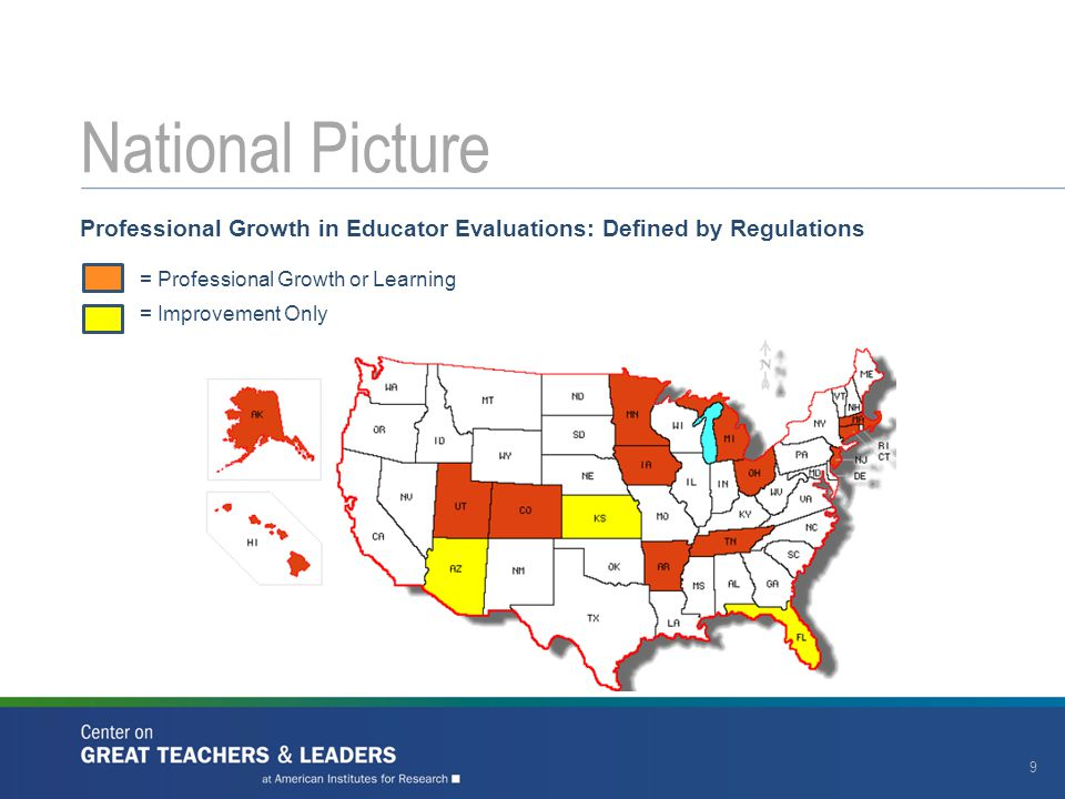 National Picture Professional Growth in Educator Evaluations: Defined by Regulations. = Professional Growth or Learning.