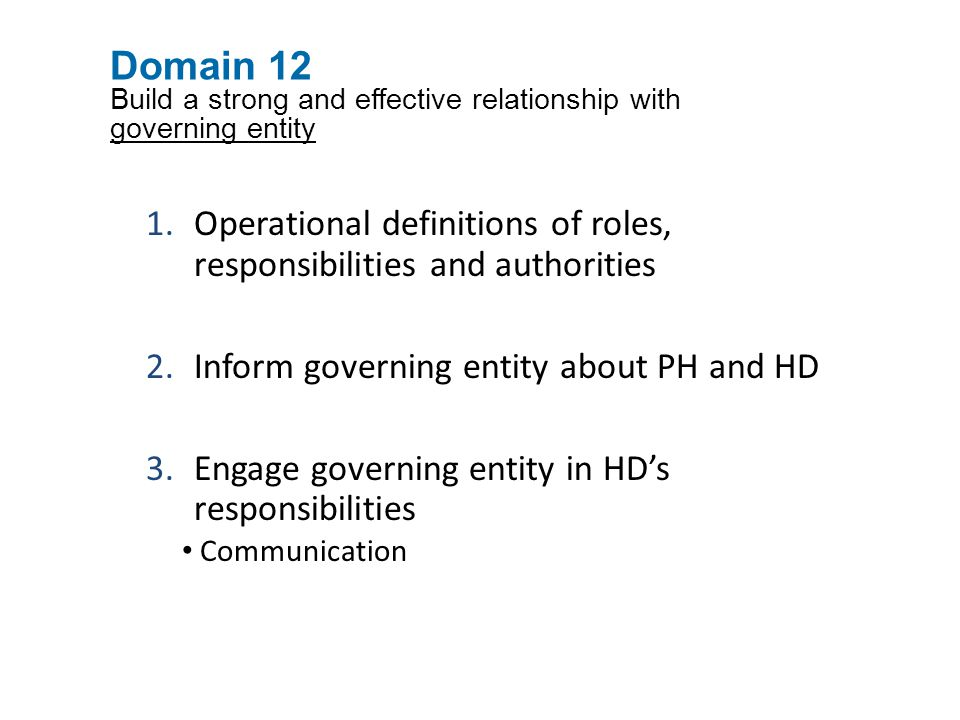 Operational definitions of roles, responsibilities and authorities