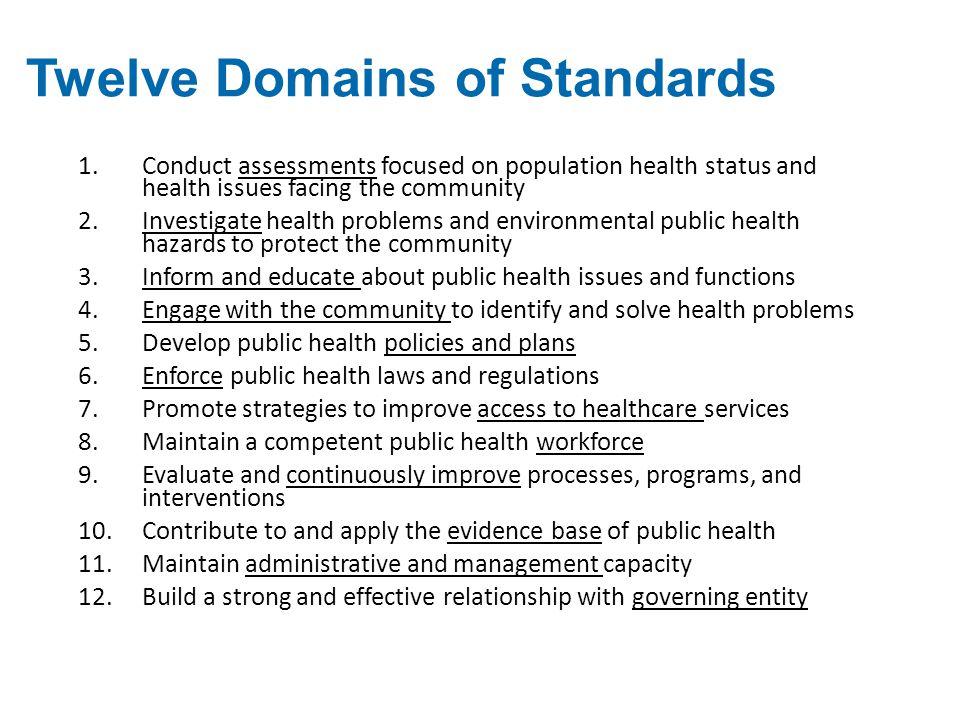 Twelve Domains of Standards