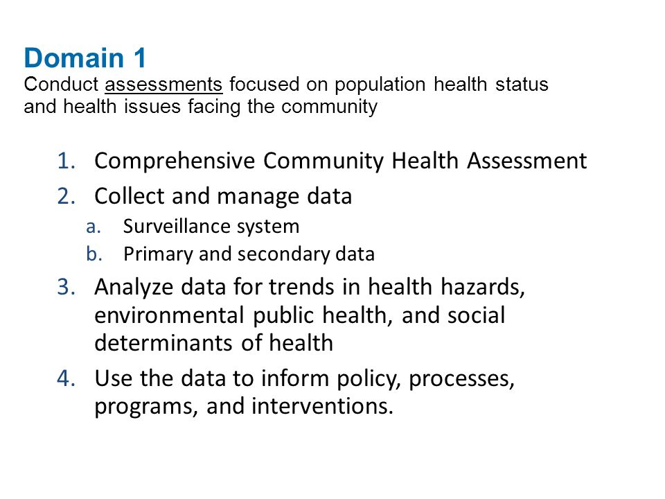 Comprehensive Community Health Assessment Collect and manage data
