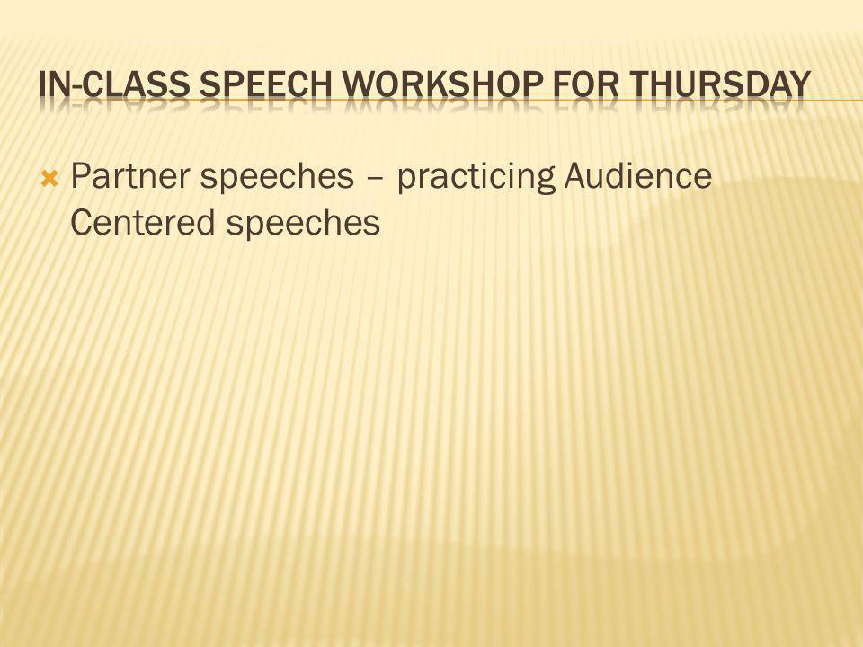 In-Class Speech Workshop for Thursday