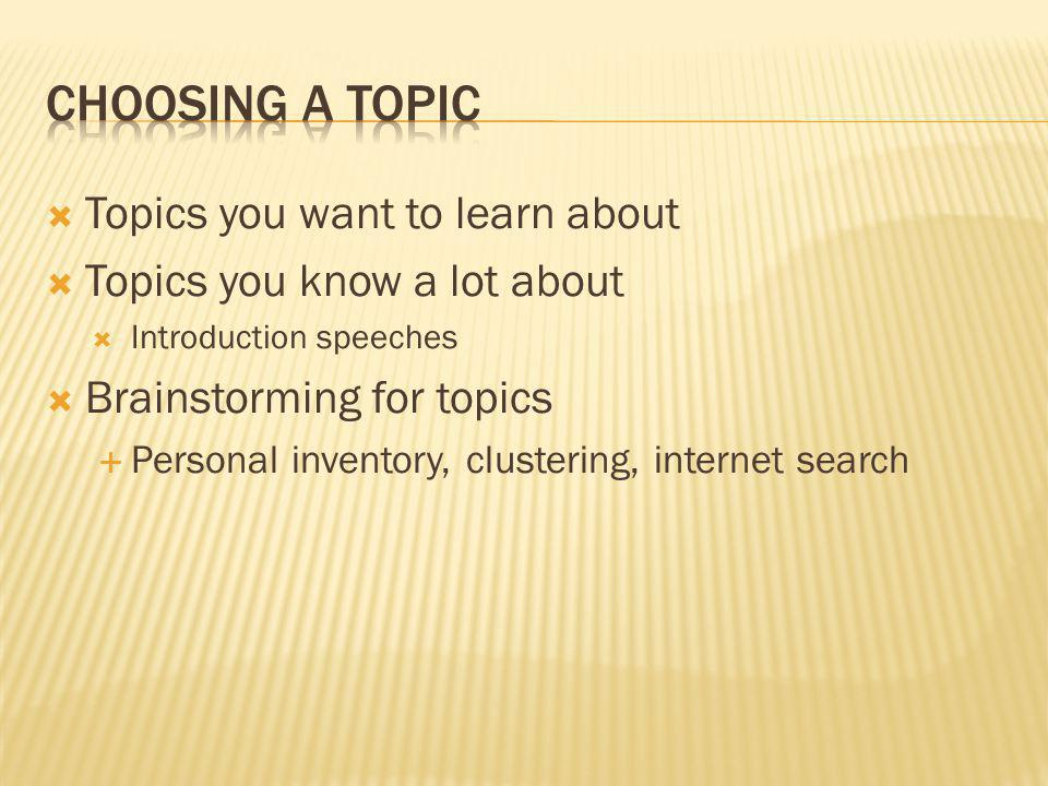 Choosing a Topic Topics you want to learn about
