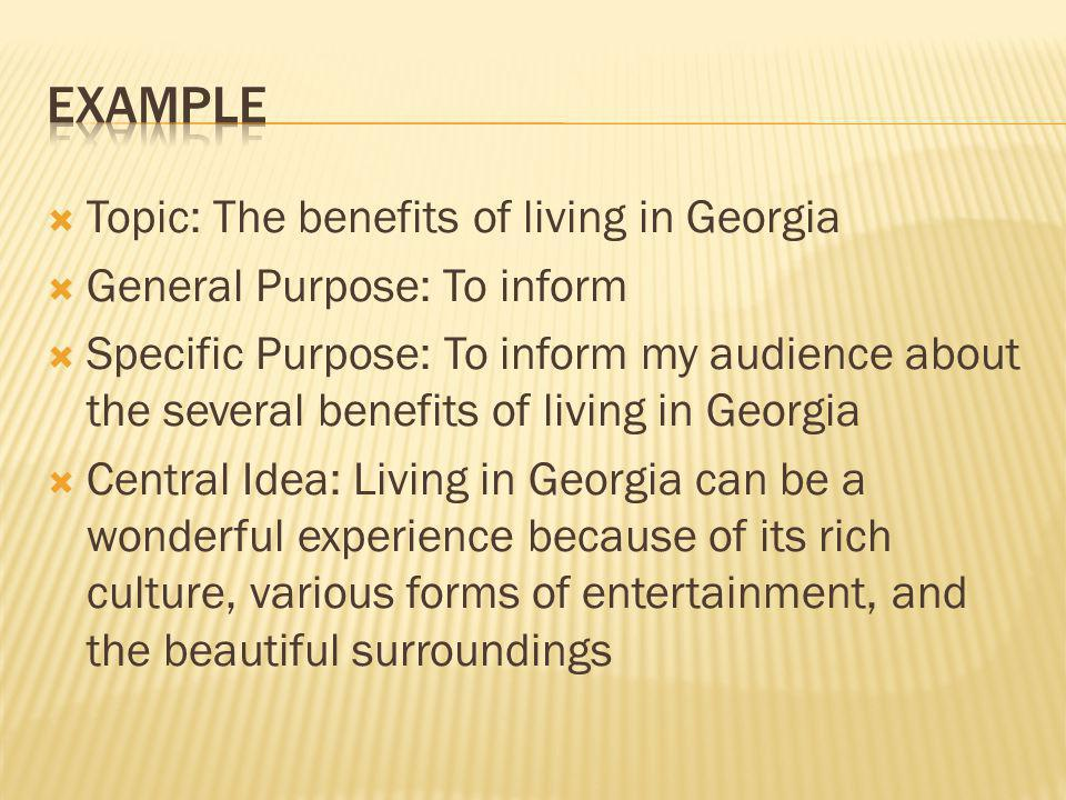 Example Topic: The benefits of living in Georgia