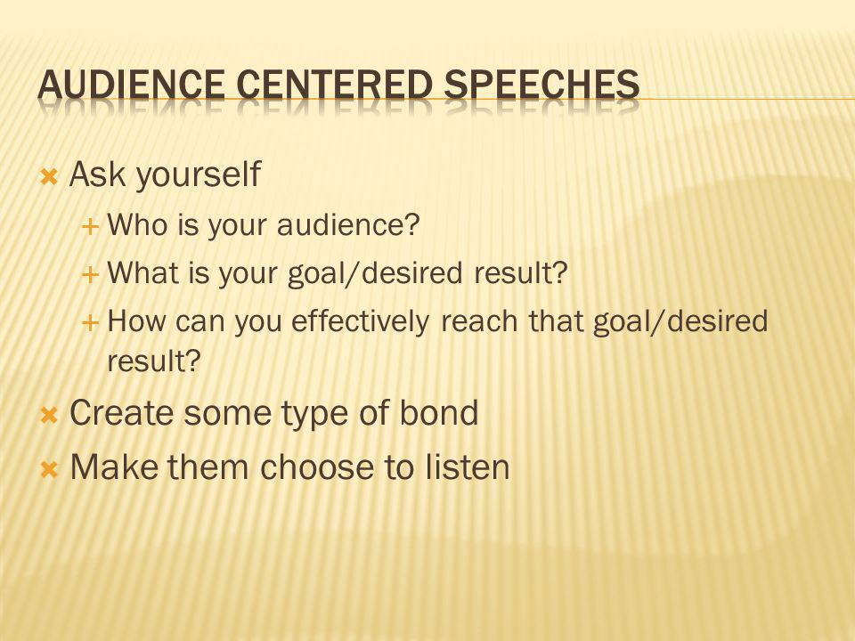 Audience Centered Speeches