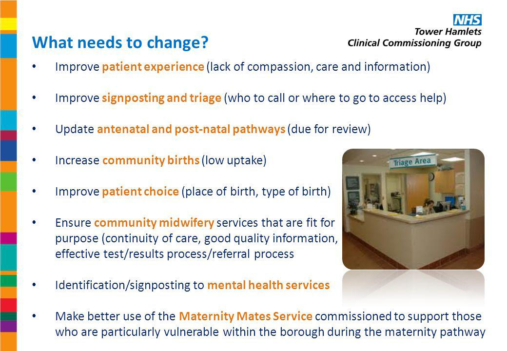 What needs to change Improve patient experience (lack of compassion, care and information)