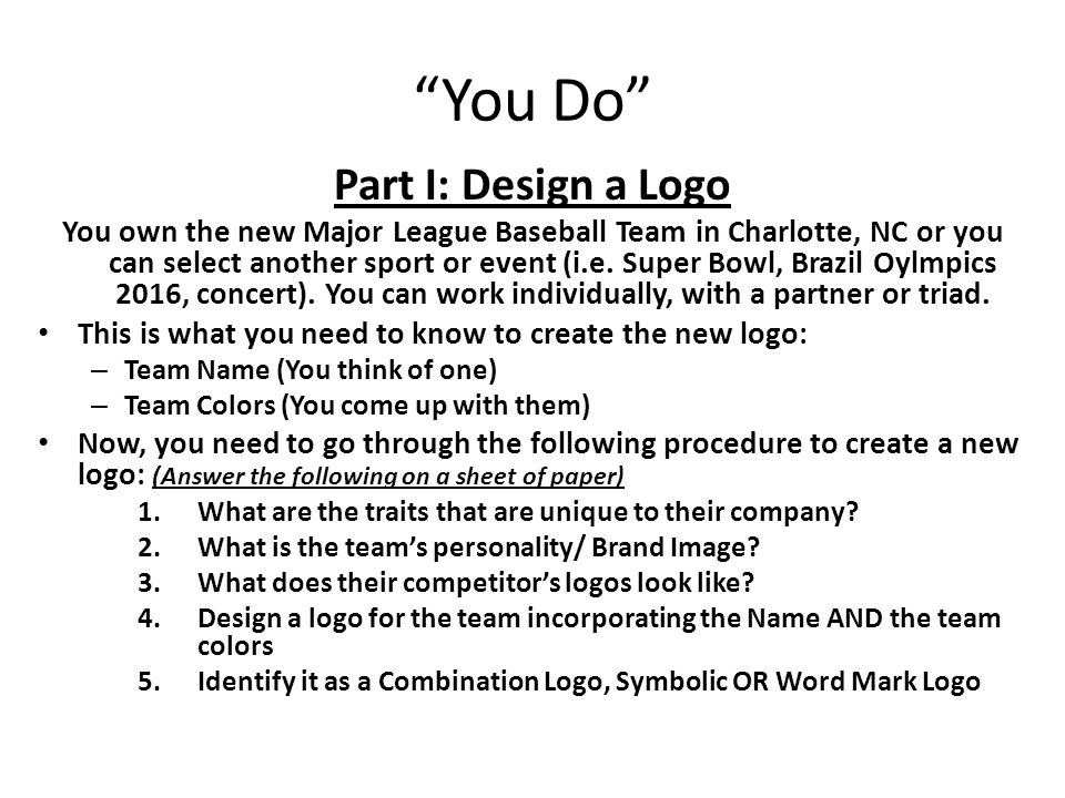 You Do Part I: Design a Logo