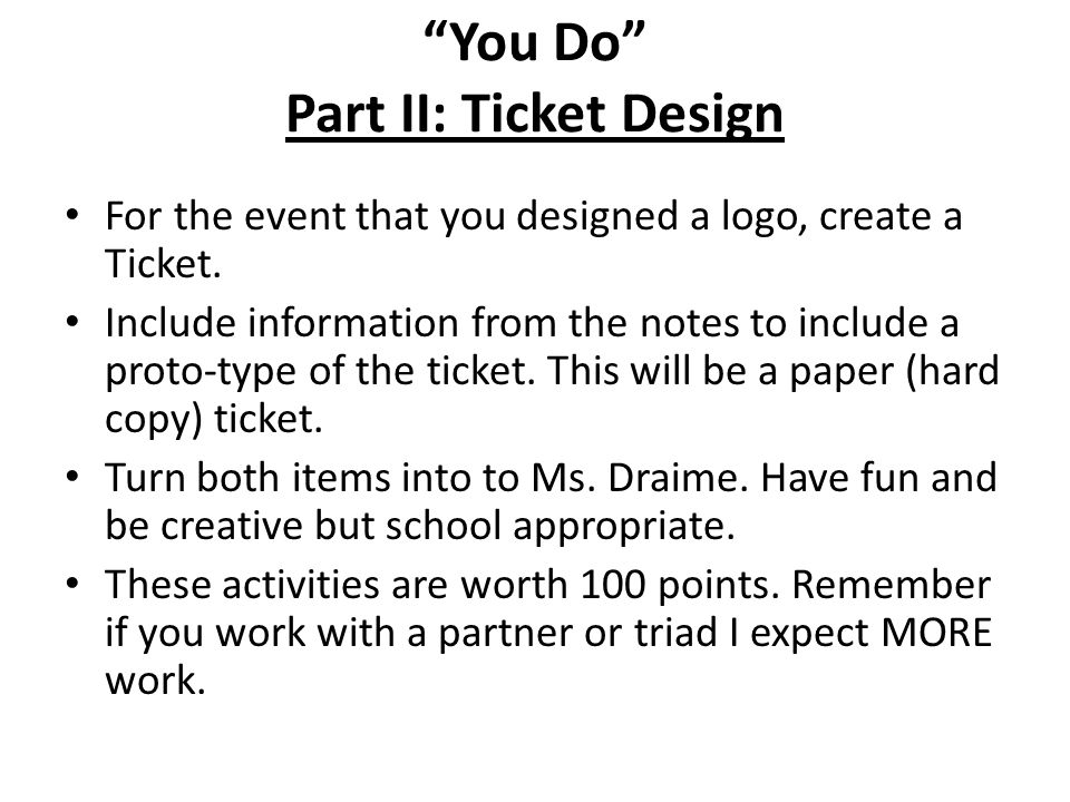 You Do Part II: Ticket Design