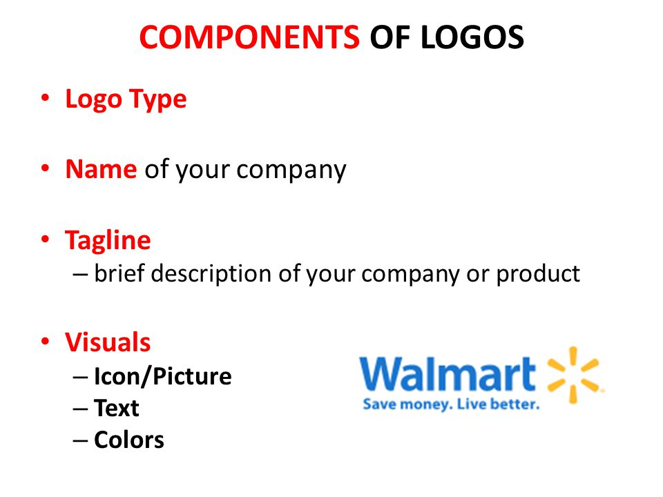 COMPONENTS OF LOGOS Logo Type Name of your company Tagline Visuals