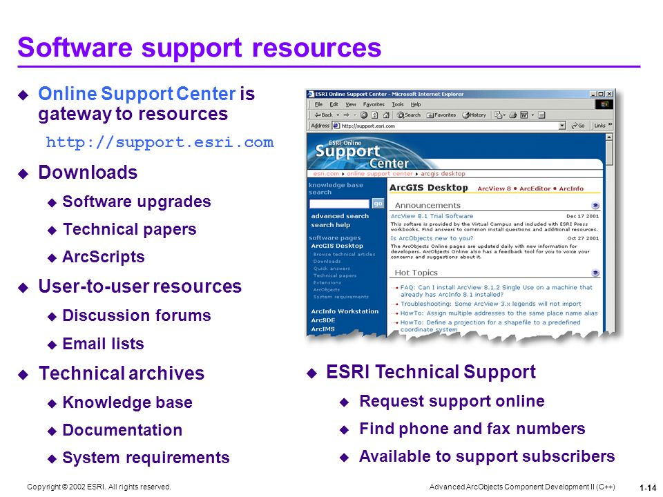 Software support resources