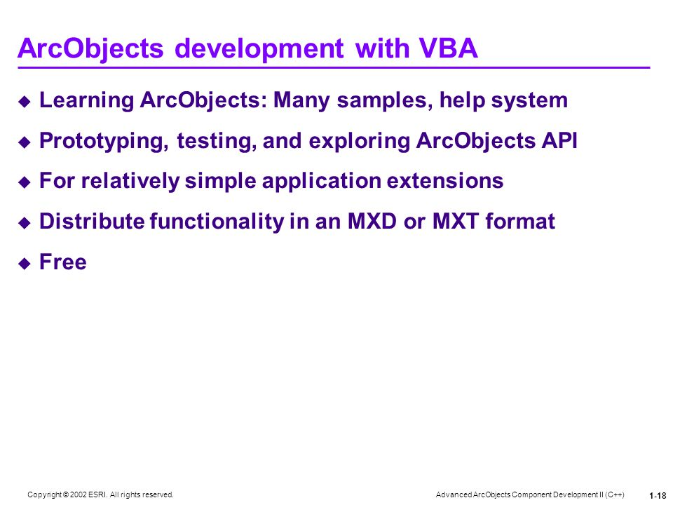 ArcObjects development with VBA