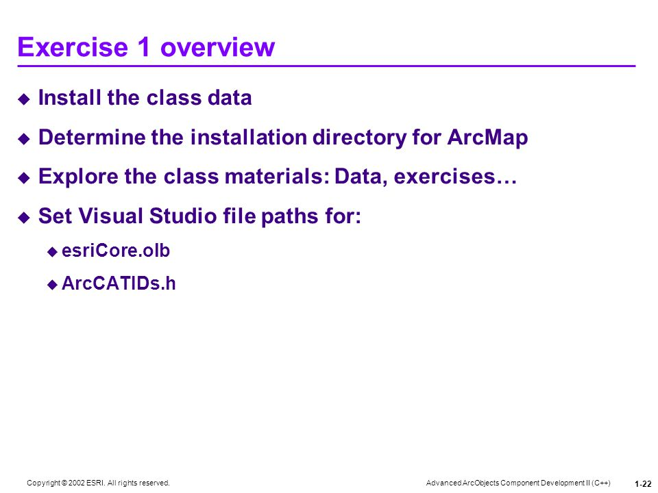 Exercise 1 overview Install the class data