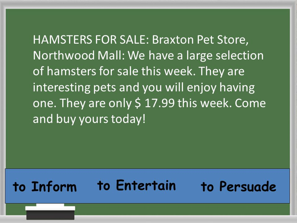 HAMSTERS FOR SALE: Braxton Pet Store, Northwood Mall: We have a large selection of hamsters for sale this week. They are interesting pets and you will enjoy having one. They are only $ 17.99 this week. Come and buy yours today!