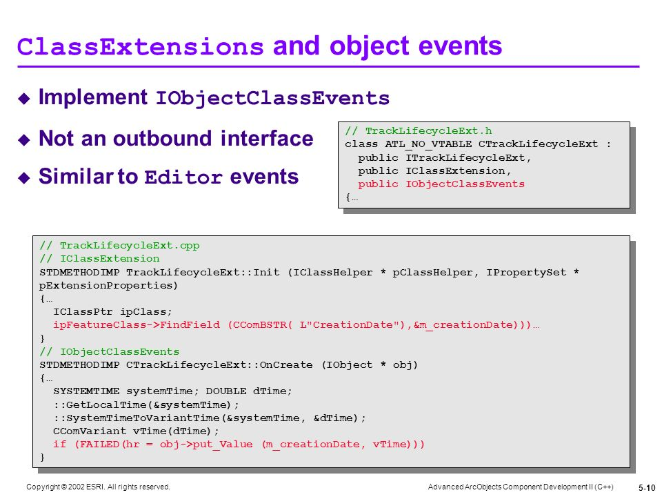 ClassExtensions and object events