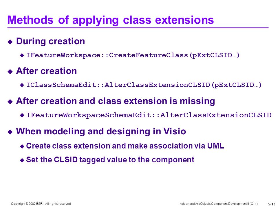 Methods of applying class extensions