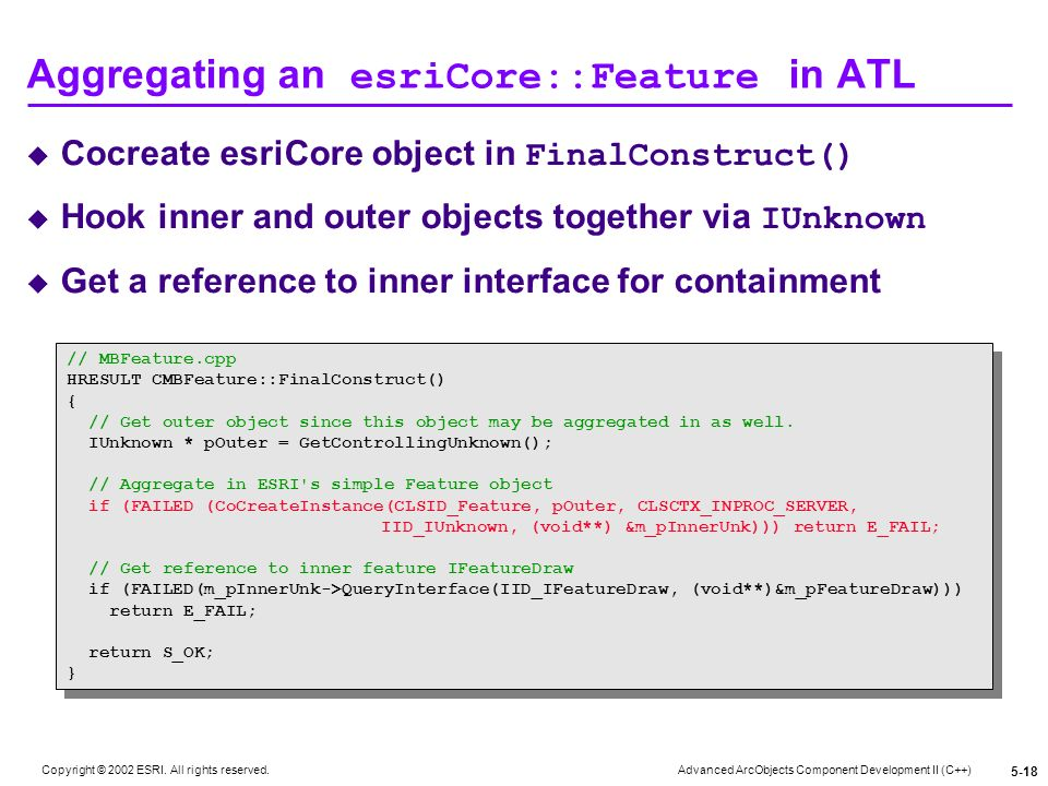 Aggregating an esriCore::Feature in ATL