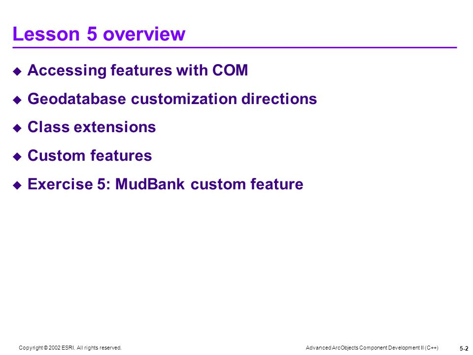 Lesson 5 overview Accessing features with COM
