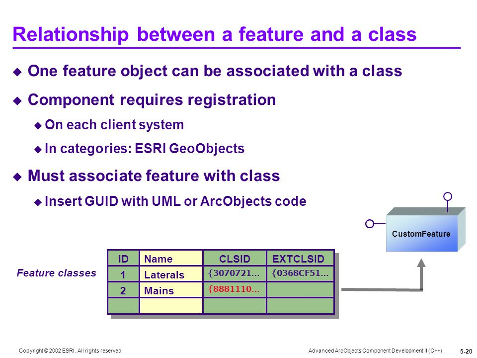 Relationship between a feature and a class