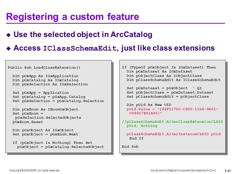 Registering a custom feature