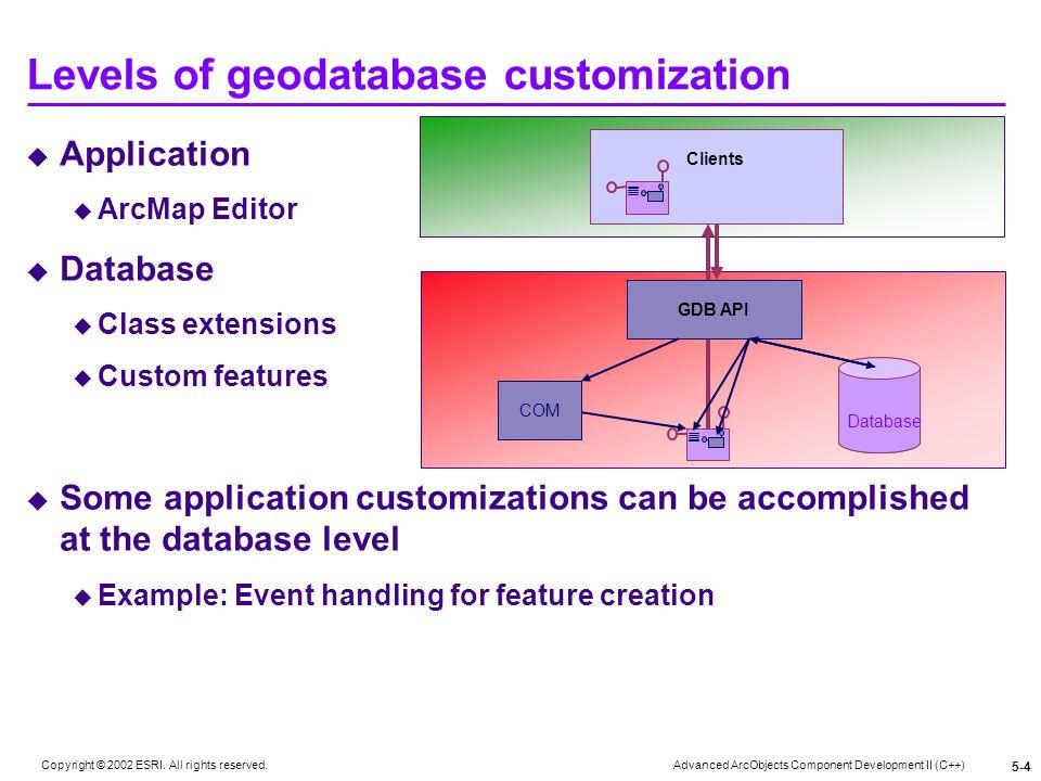 Levels of geodatabase customization