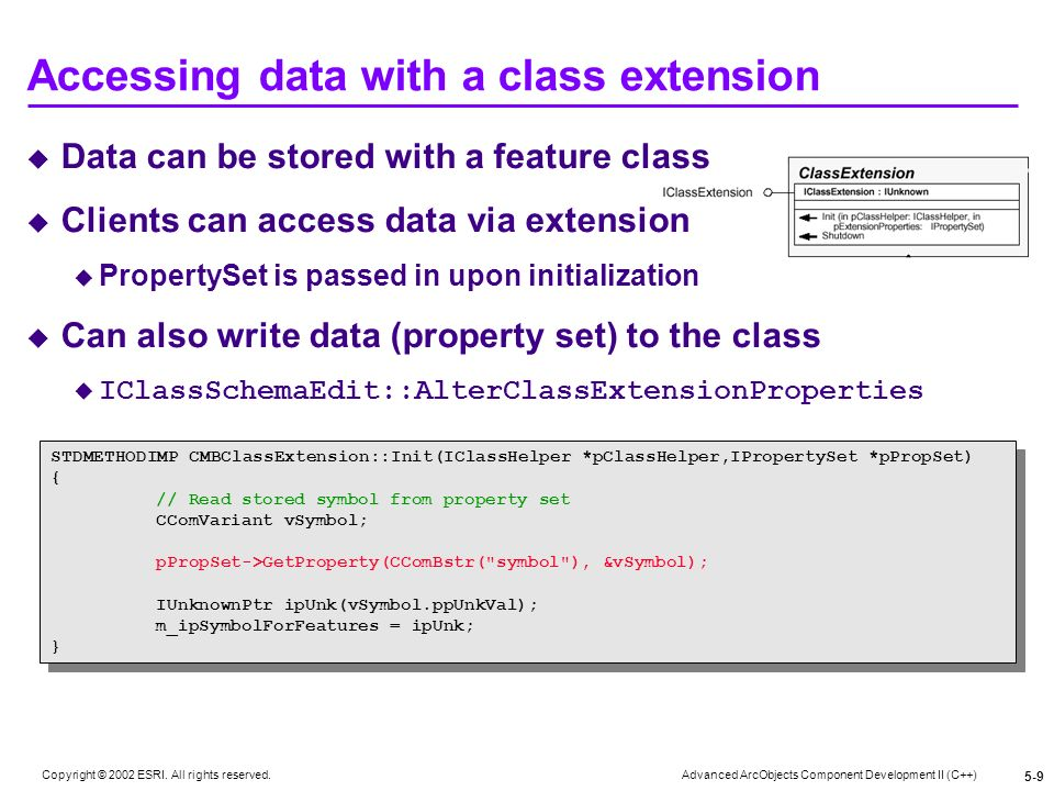 Accessing data with a class extension
