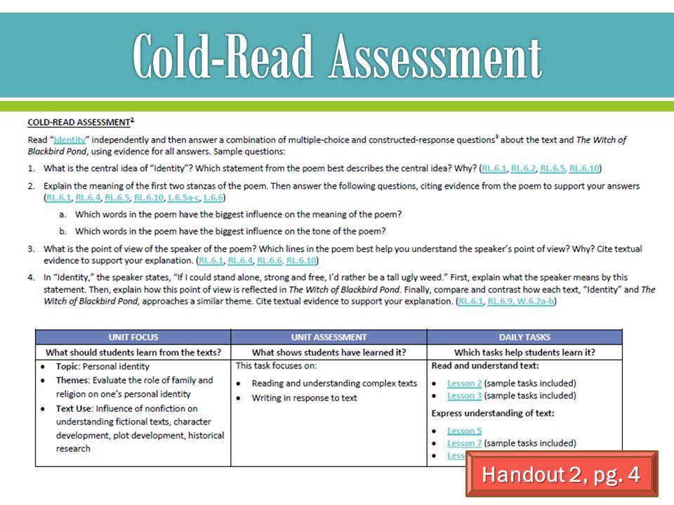 Cold-Read Assessment Handout 2, pg. 4
