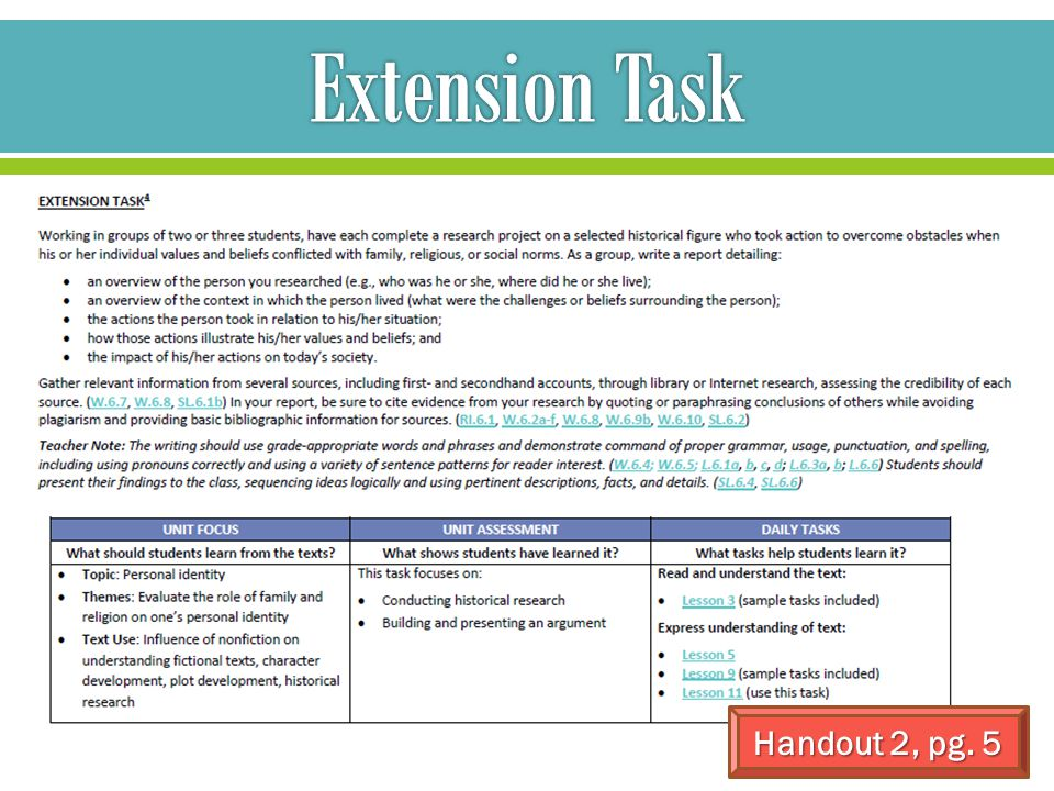 **Extension tasks are for ALL students, not just advanced students.