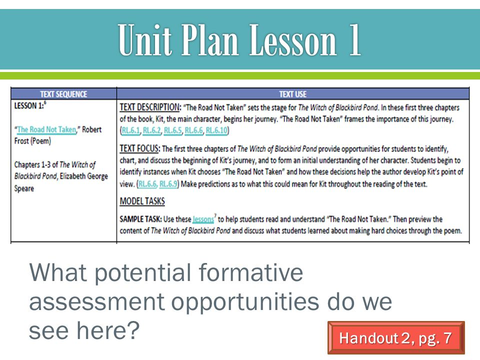 Unit Plan Lesson 1 Model and explain; question. What potential formative assessment opportunities do we see here