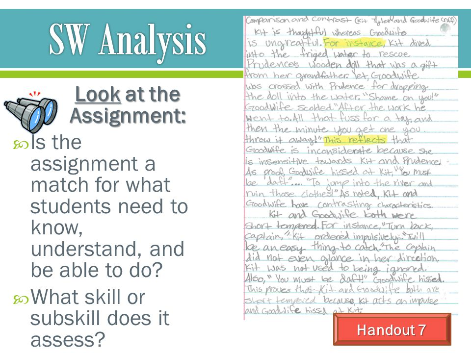 Look at the Assignment:
