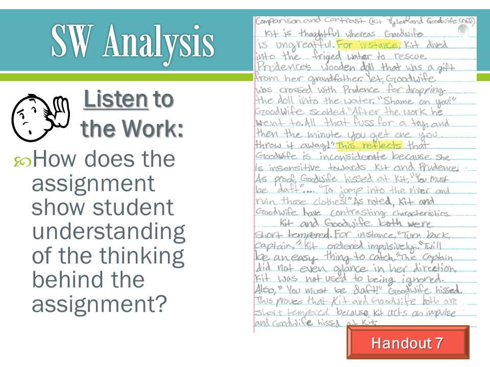 SW Analysis Listen to the Work:
