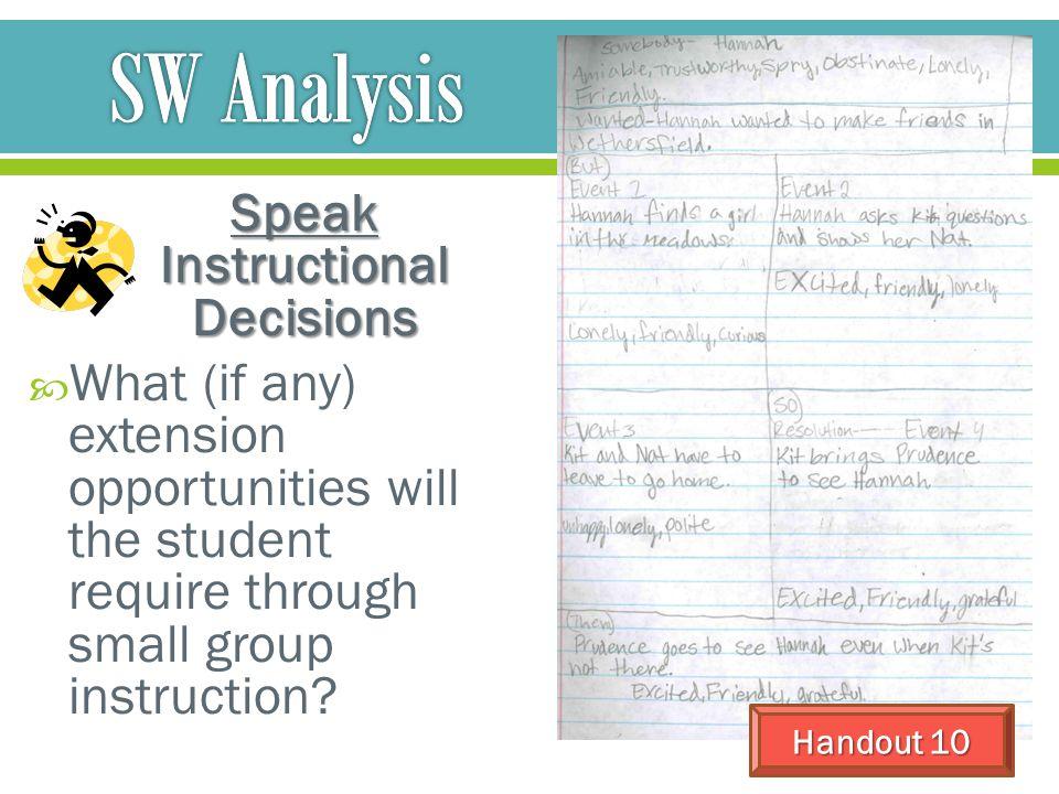 Speak Instructional Decisions