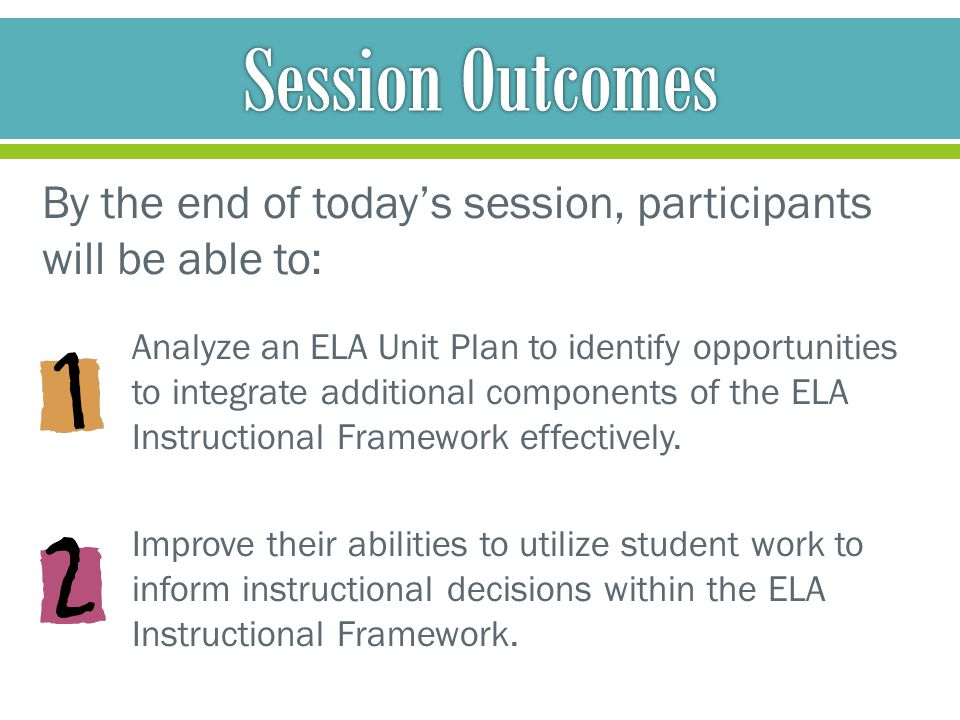 Session Outcomes By the end of today's session, participants will be able to: