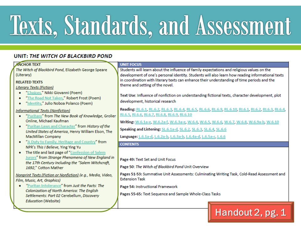 Texts, Standards, and Assessment