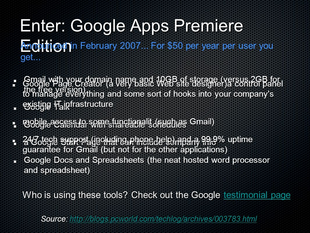Enter: Google Apps Premiere Edition