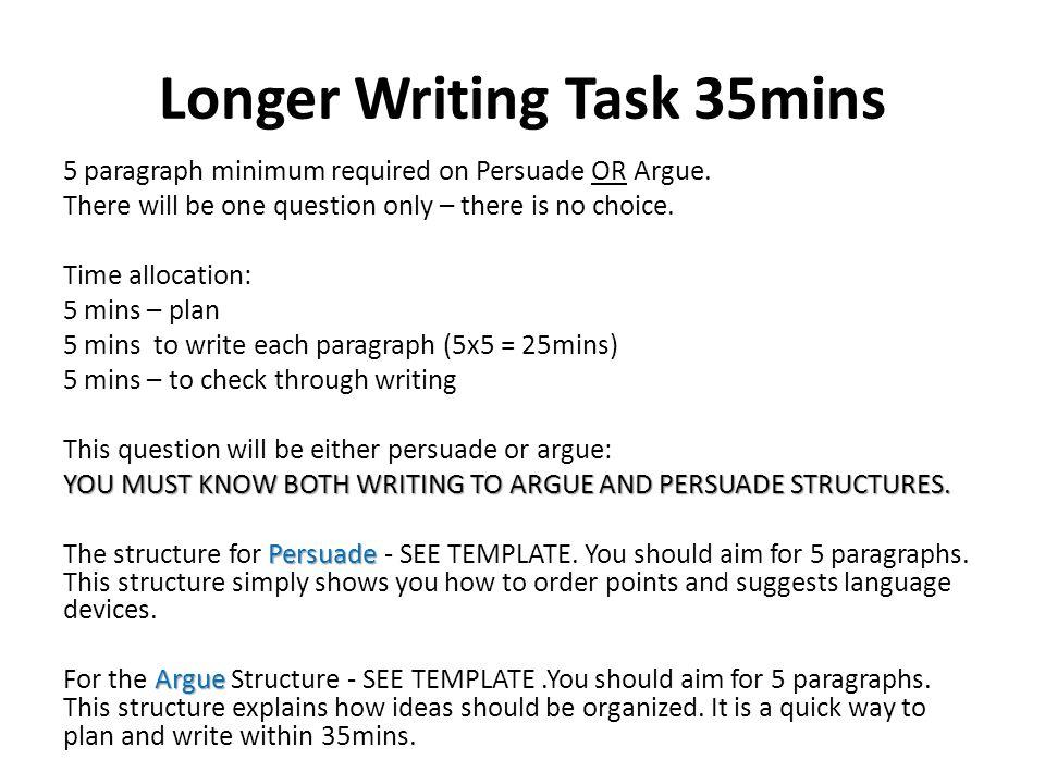 Longer Writing Task 35mins