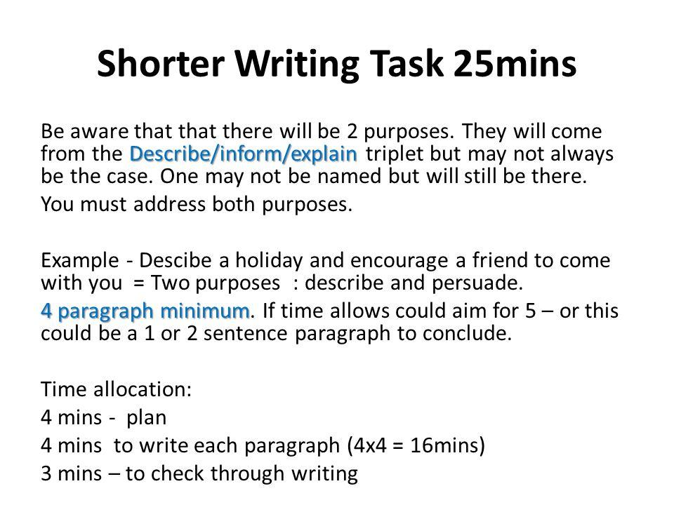 Shorter Writing Task 25mins