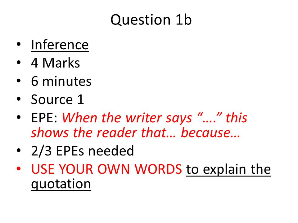Question 1b Inference 4 Marks 6 minutes Source 1