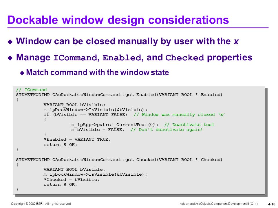Dockable window design considerations
