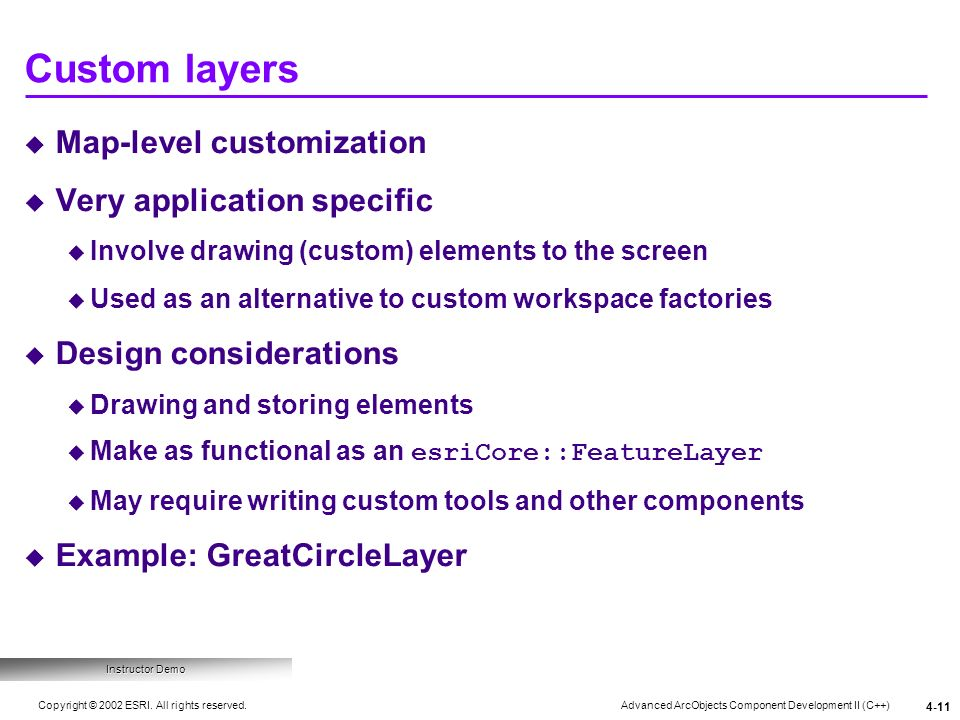 Custom layers Map-level customization Very application specific