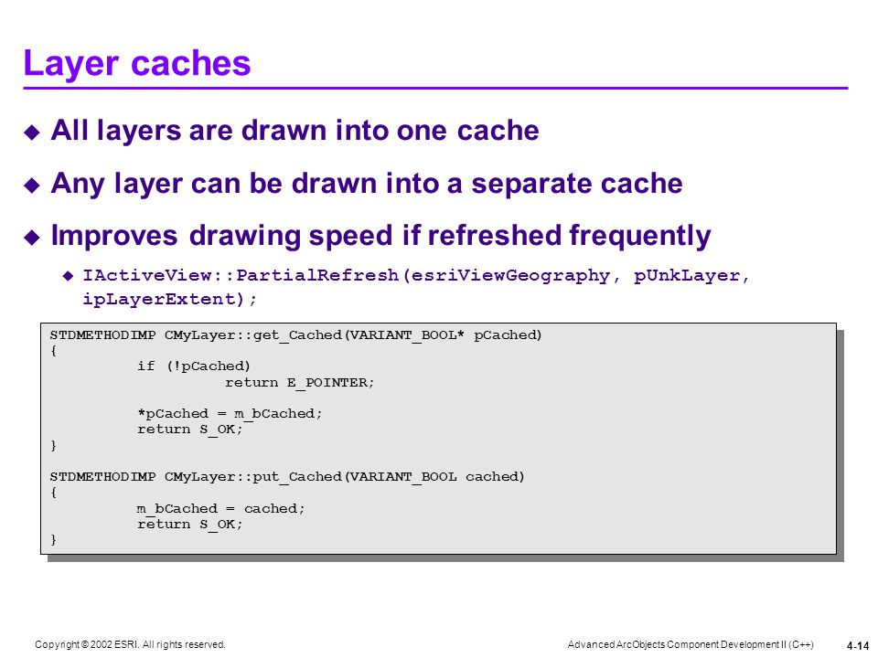Layer caches All layers are drawn into one cache