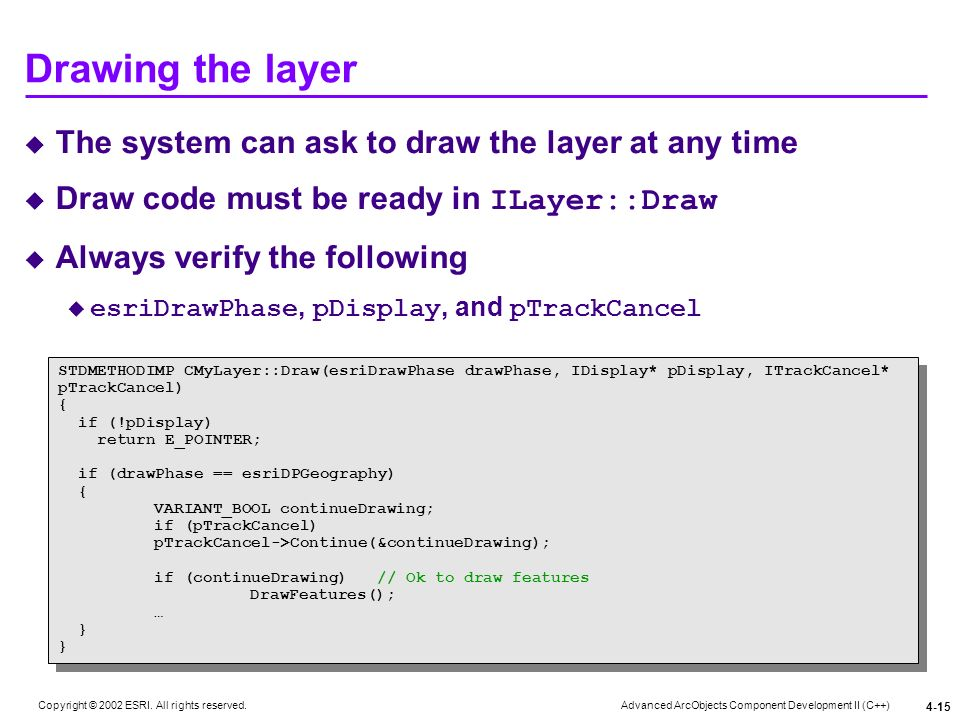 Drawing the layer The system can ask to draw the layer at any time